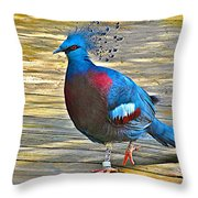 Victoria Crowned Pigeon In San Diego Zoo Safari In Escondido-california Throw Pillow