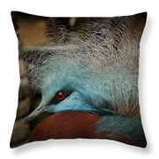 Victoria Crowned Pigeon In Tribal Decor Throw Pillow