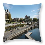 Victoria Harbour With Empress Hotel Throw Pillow