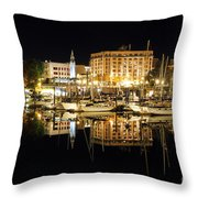 Victoria Inner Harbour At Night Throw Pillow
