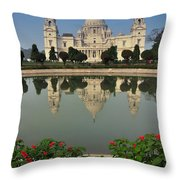 Victoria Memorial Kolkata India - Reflection On Water Throw Pillow