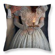 Victorian Couple At Night With Candle Throw Pillow