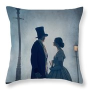 Victorian Couple At Nighttime Under Gas Lights  Throw Pillow