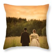 Victorian Couple In A Summer Meadow Throw Pillow