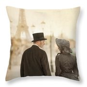 Victorian Couple In Paris Throw Pillow