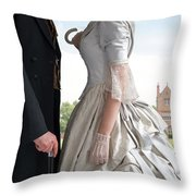 Victorian Couple In The Grounds Of A Country House Throw Pillow