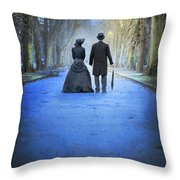 Victorian Couple In The Park At Dusk Throw Pillow