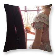 Victorian Couple Looking Out Of A Window Throw Pillow