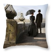 Victorian Couple Walking In The Grounds Throw Pillow