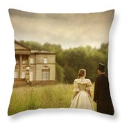Victorian Couple Walking Towards A Country Manor House Throw Pillow