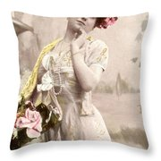 Victorian Floral Market Throw Pillow