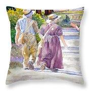 Victorian Gardeners Throw Pillow