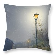 Victorian Gas Lamp In Winter Throw Pillow