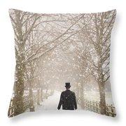 Victorian Gentleman In Snow Throw Pillow