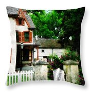 Victorian Home With Open Gate Throw Pillow