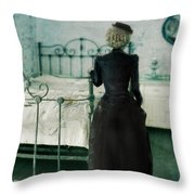 Victorian Lady In A Bedroom Throw Pillow