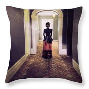 Victorian Lady In Hallway Throw Pillow