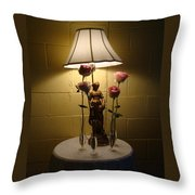 Victorian Lamp And Roses Throw Pillow