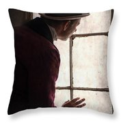 Victorian Man At A Window Throw Pillow