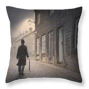 Victorian Man On A Cobbled Street Throw Pillow