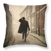 Victorian Man Running On A Cobbled Road Throw Pillow