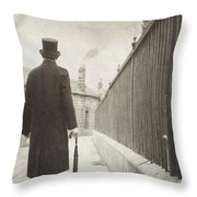 Victorian Man Walking Towards A Row Of Cottages Throw Pillow