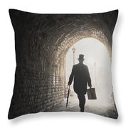 Victorian Man With Top Hat And Case Walking Under A Bridge Throw Pillow