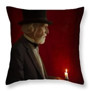 Victorian Man With Top Hat By Candle Light Throw Pillow