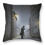 Victorian Man With Top Hat On A Cobbled Street At Night Throw Pillow