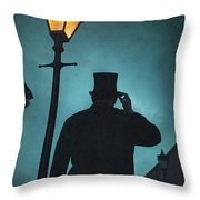 Victorian Man With Top Hat Under A Gas Lamp Throw Pillow
