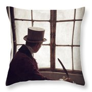 Victorian Man Writing With A Quill At His Desk Throw Pillow