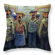 Victorian Musee Mecanique Automated Puppets - San Francisco Throw Pillow by Daniel Hagerman