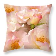 Victorian Pink Roses Bouquet Throw Pillow