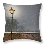 Victorian Street Lamp In Snow Throw Pillow