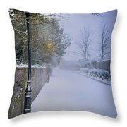 Victorian Winter Street Scene Throw Pillow