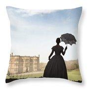 Victorian Woman Approaching A Country Estate Throw Pillow