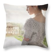 Victorian Woman Approaching A Country Manor House Throw Pillow