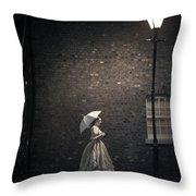 Victorian Woman Beneath A Street Lamp Throw Pillow