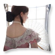 Victorian Woman By A Window Throw Pillow