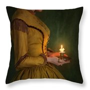 Victorian Woman Holding A Candle Throw Pillow