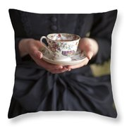 Victorian Woman Holding A China Cup And Saucer Of Tea Throw Pillow