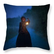 Victorian Woman Holding A Lantern At Night Throw Pillow