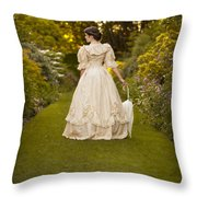 Victorian Woman In A Formal Garden Throw Pillow