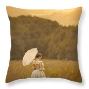 Victorian Woman In A Summer Meadow Throw Pillow