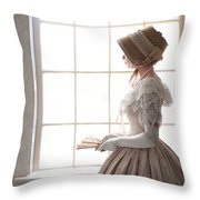 Victorian Woman In Profile At A Window Throw Pillow