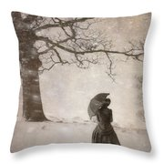 Victorian Woman In Snow Storm Throw Pillow