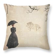 Victorian Woman In Winter Throw Pillow