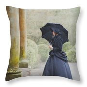 Victorian Woman On Stone Steps Throw Pillow