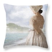 Victorian Woman On The Beach Looking Out To Sea Throw Pillow
