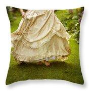 Victorian Woman Running On A Summer Lawn Throw Pillow